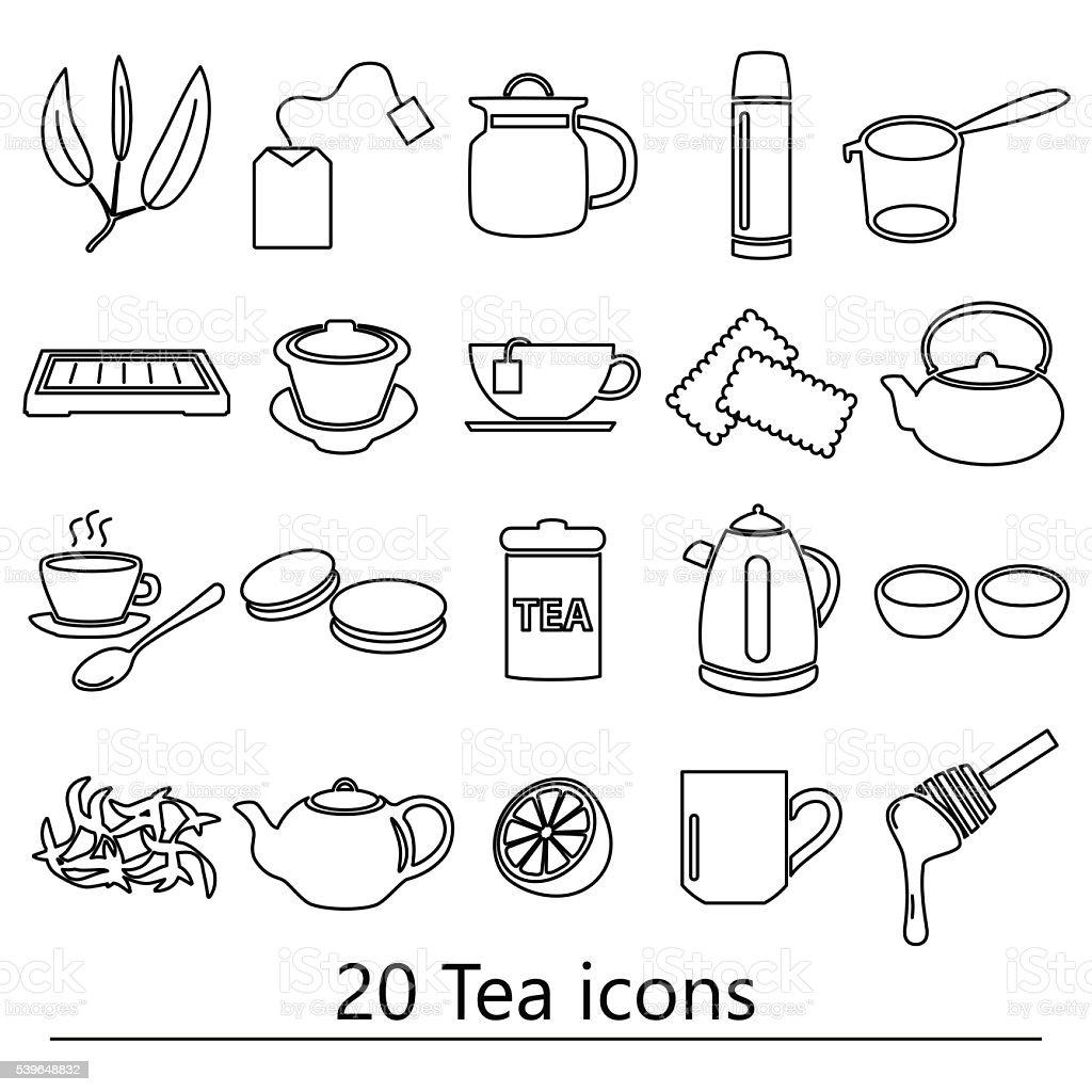 tea theme black simple outline icons set eps10 vector art illustration
