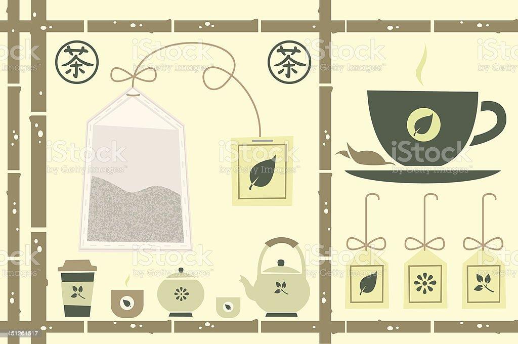 Tea theme vector art illustration