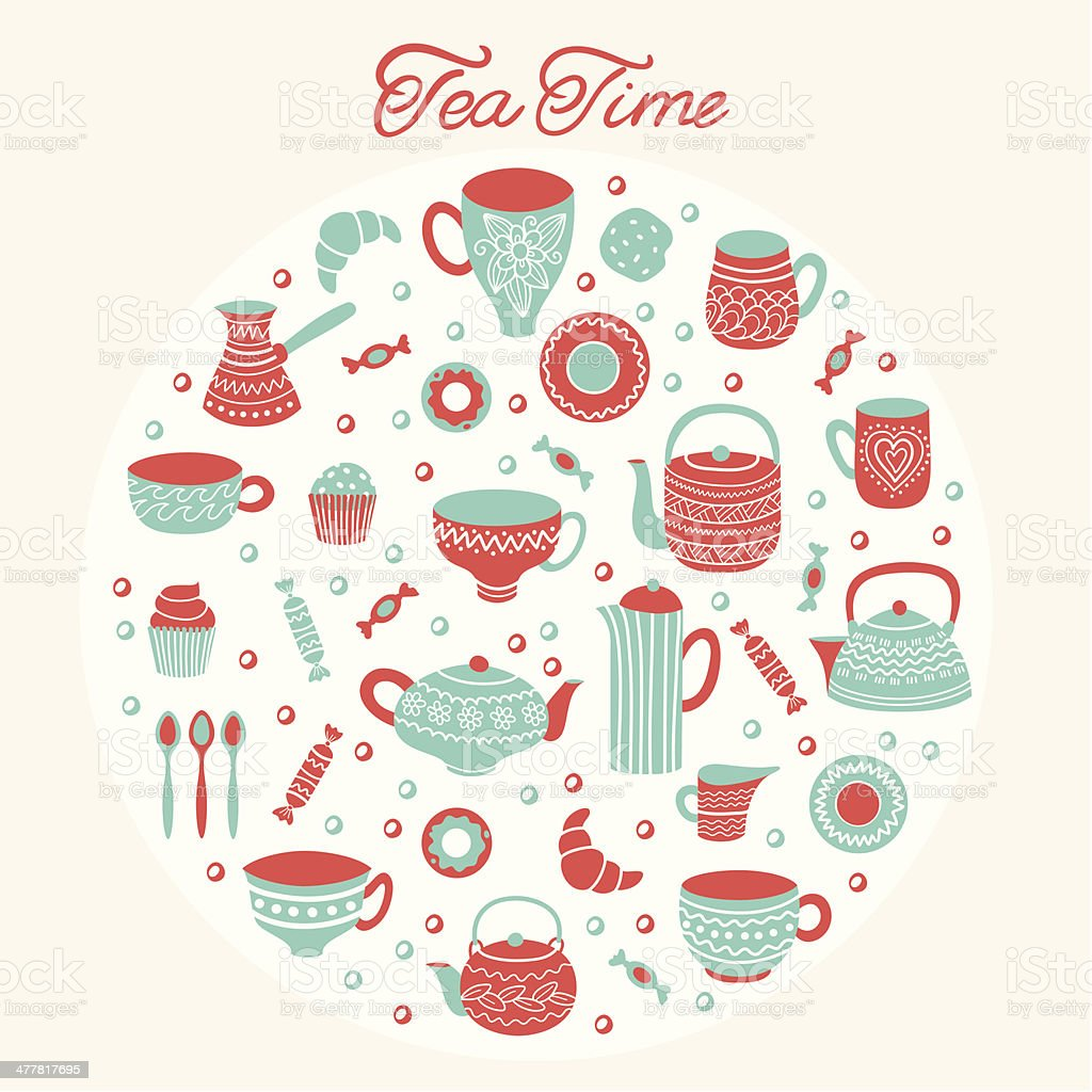 Tea time background royalty-free stock vector art