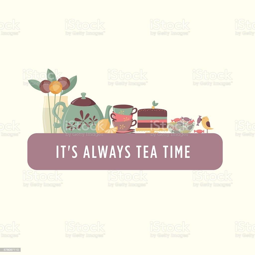 Tea time banner vector art illustration