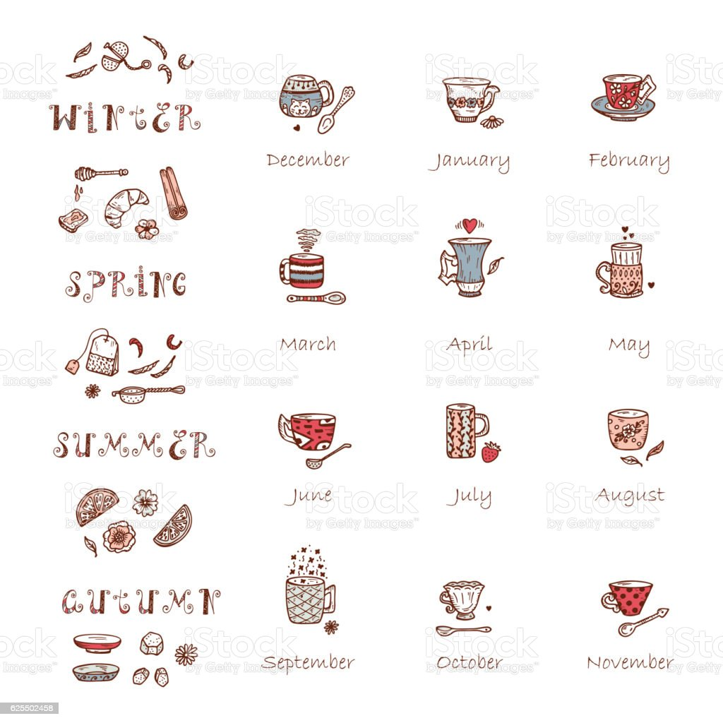 Tea Time. Calendar template with Doodle Coffee or Tea Cups vector art illustration
