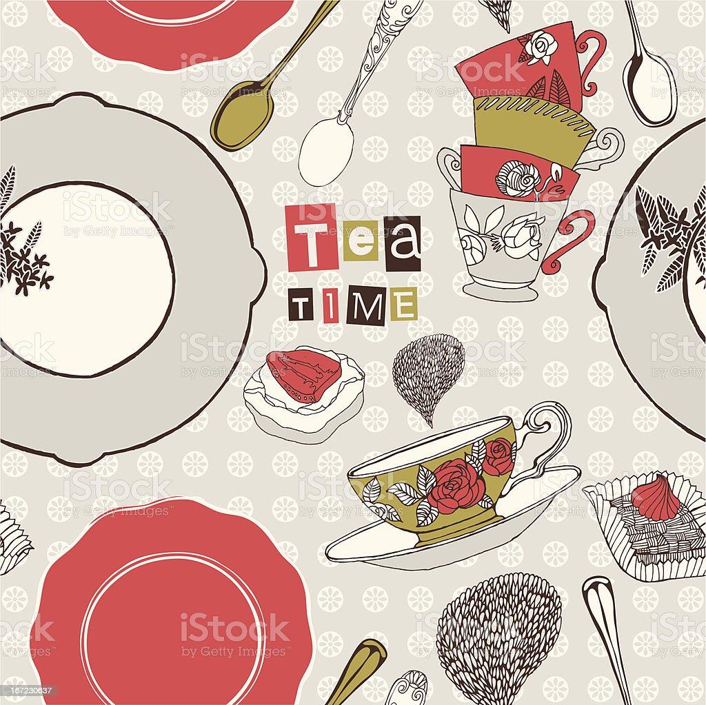 Tea time card. royalty-free stock vector art