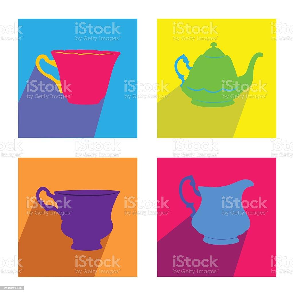 Tea Time Color Square Set vector art illustration