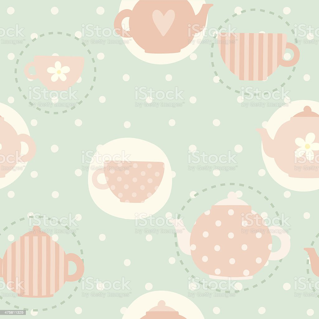 Tea time cups and teapots pattern vector art illustration