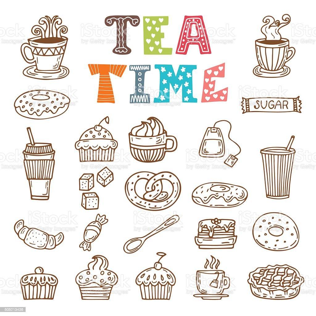 Tea time. Hand drawn tea and desserts vector art illustration