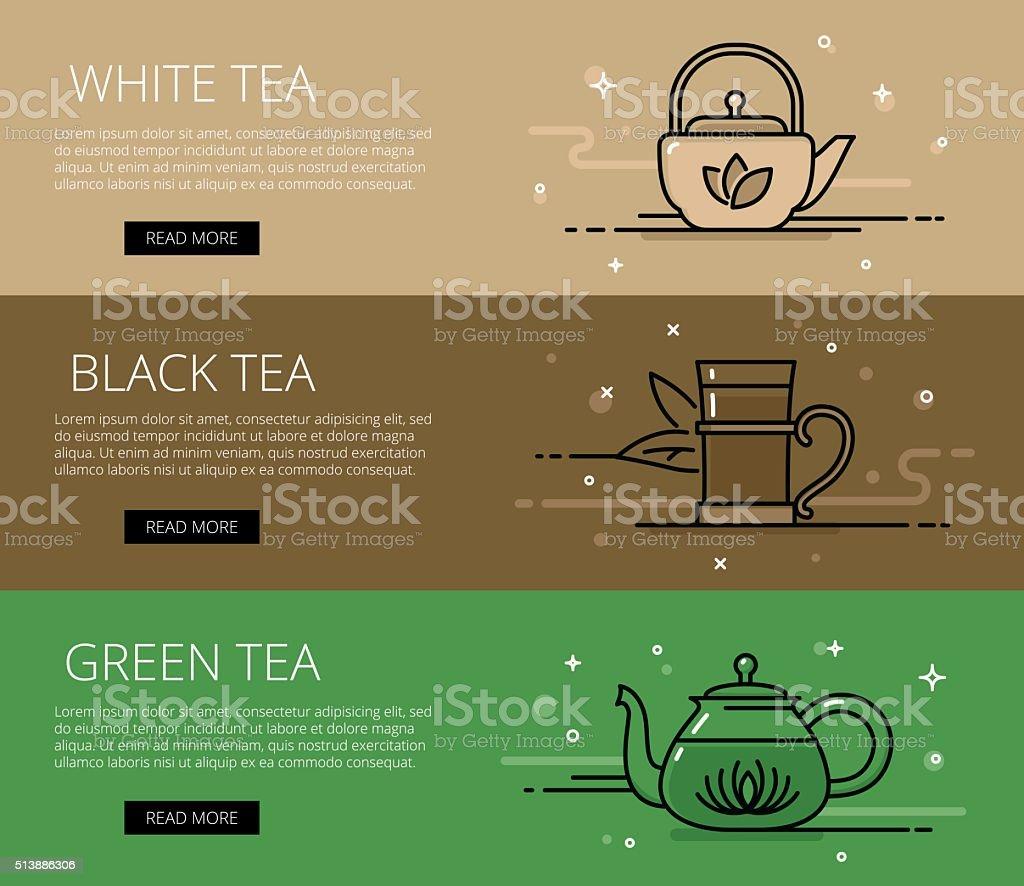 Tea time line vector web banners set vector art illustration