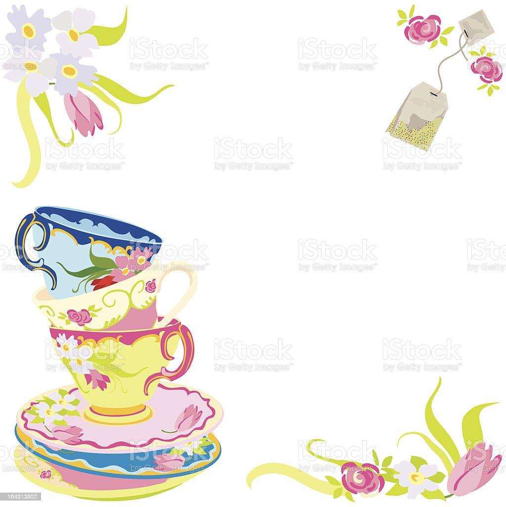 Tea Time Party Invitation royalty-free stock vector art