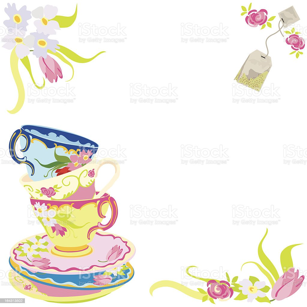 Tea Time Party Invitation vector art illustration
