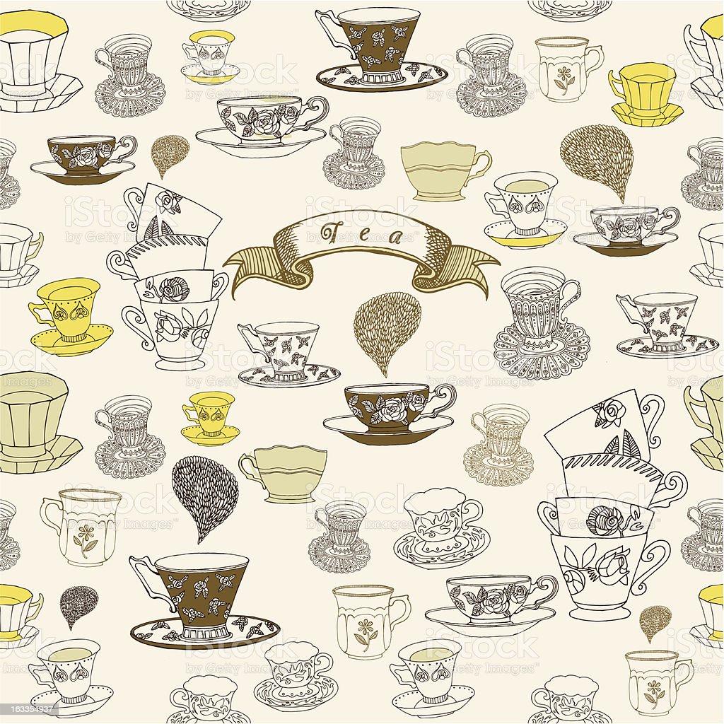 tea time. seamless background vector art illustration