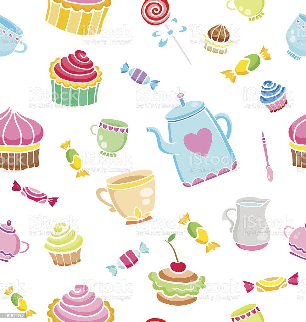 Tea time seamless pattern for design. vector art illustration