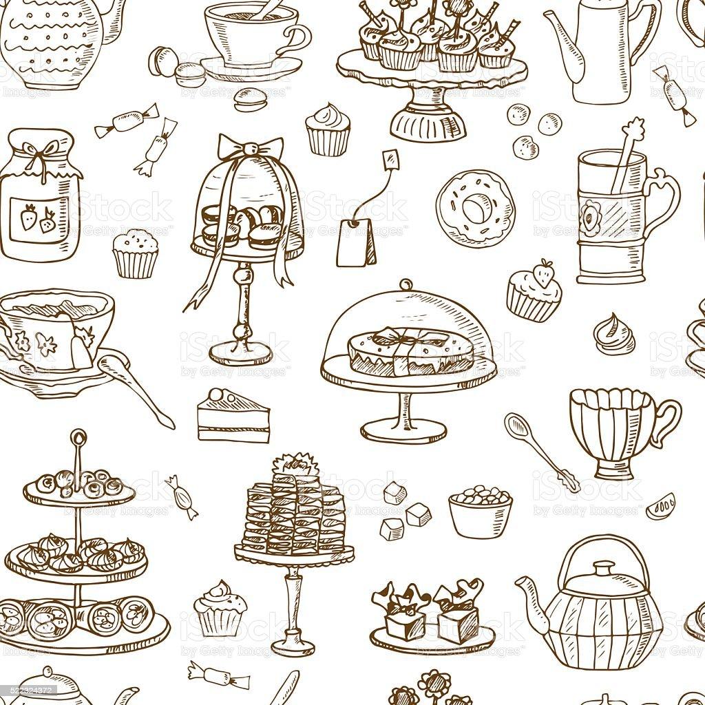 Tea Time Seamless pattern. Hand drawn vector art illustration