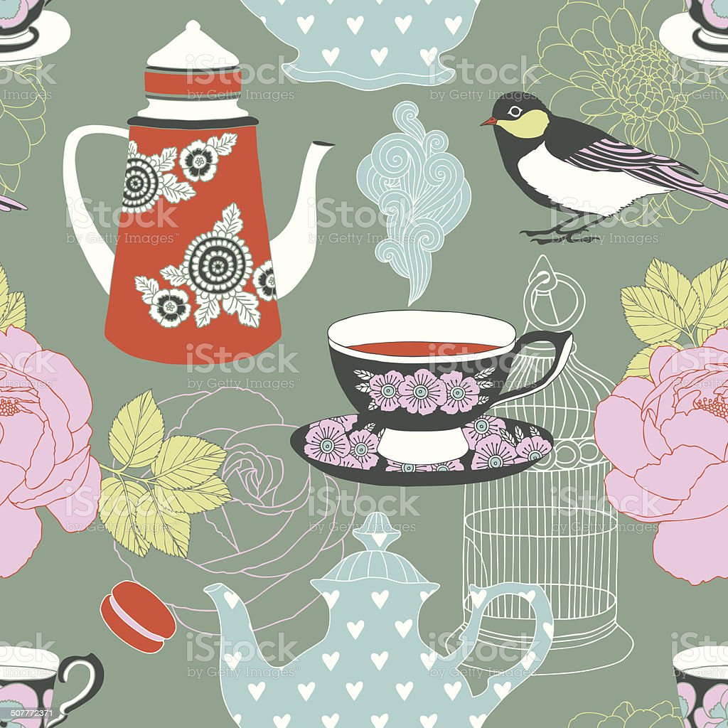 Tea time seamless vector pattern vector art illustration