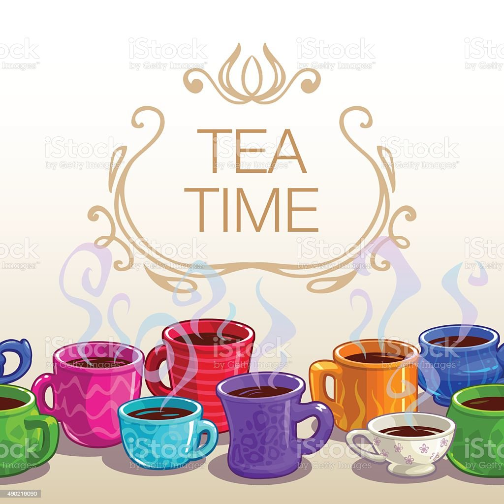 Tea time square banner vector art illustration