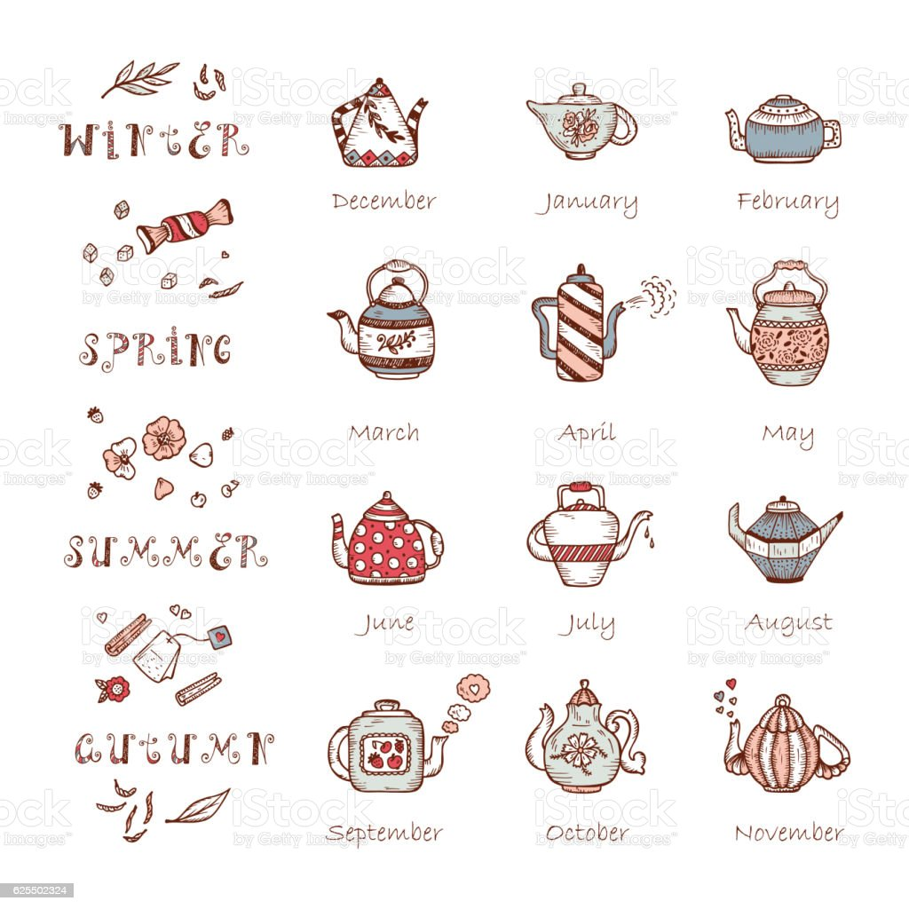 Tea Time. Vector Calendar template with Doodle Different Teapots vector art illustration