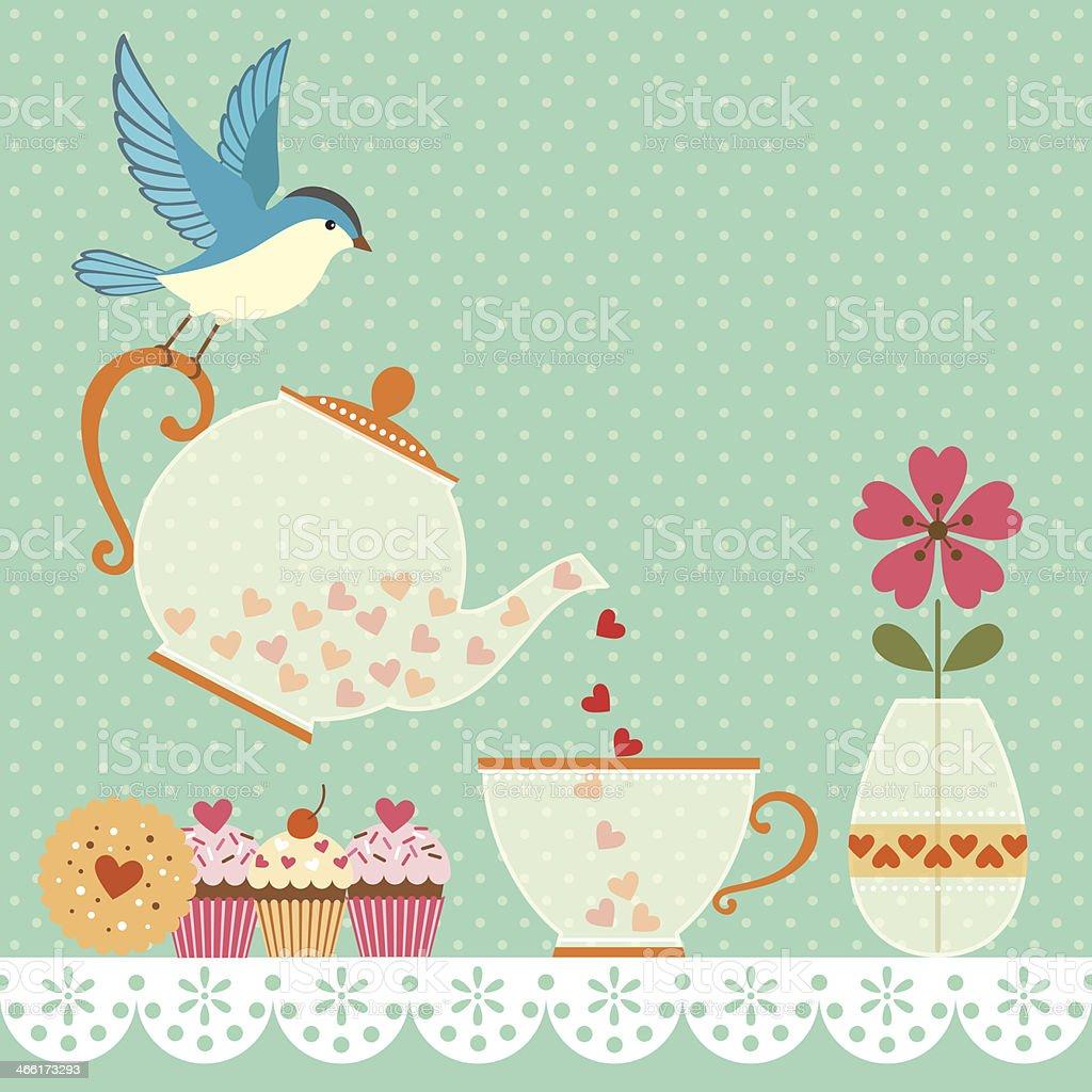 Tea time vector art illustration
