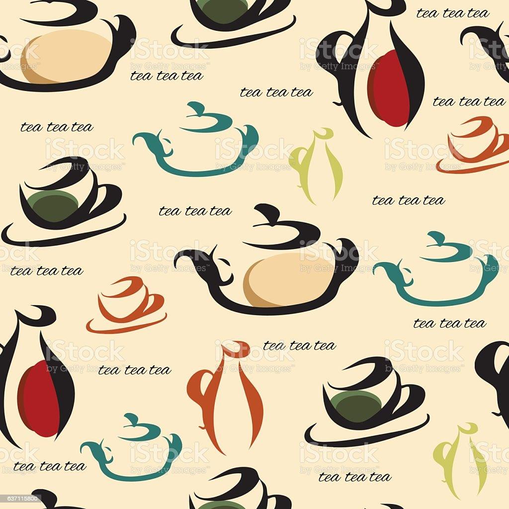 Tea utensils on a beige background. vector art illustration