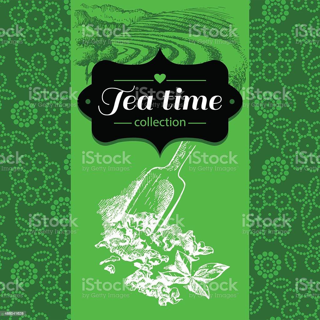 Tea vintage background. Hand drawn sketch illustration. Menu and vector art illustration