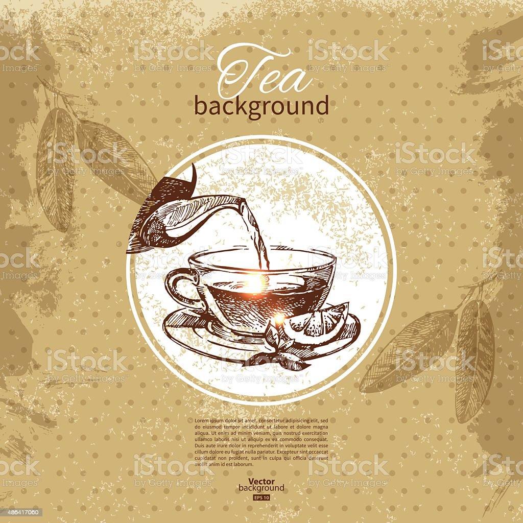Tea vintage background. Hand drawn sketch illustration. Menu des vector art illustration