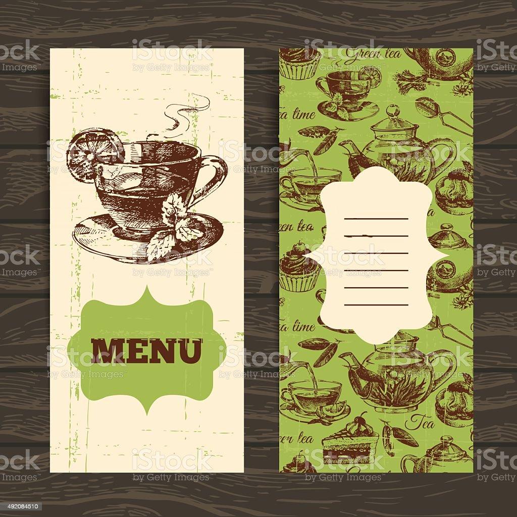 Tea vintage banners. Hand drawn sketch illustration. Menu design vector art illustration