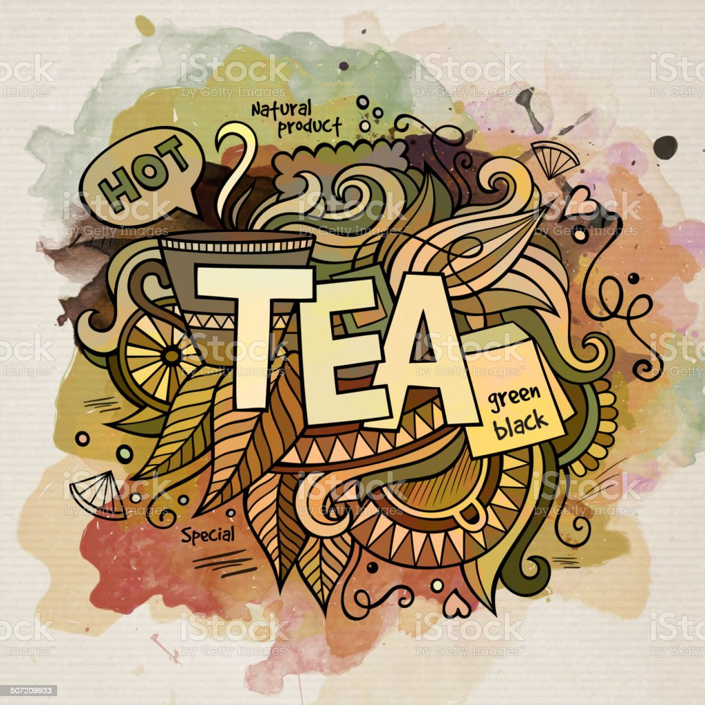 Tea watercolor cartoon hand lettering and doodles elements vector art illustration