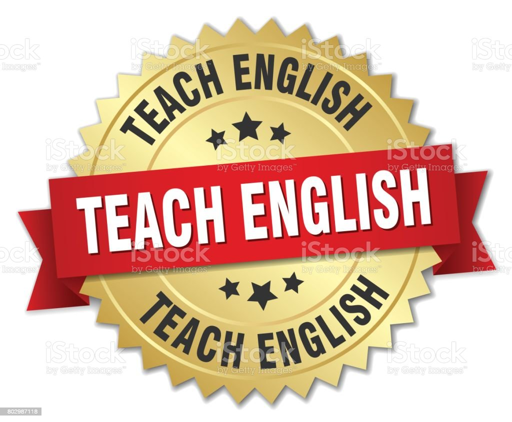 teach english round isolated gold badge vector art illustration