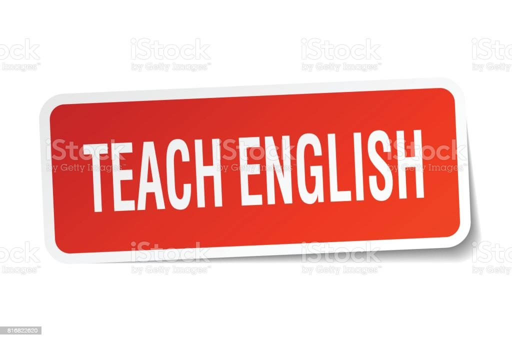 teach english square sticker on white vector art illustration