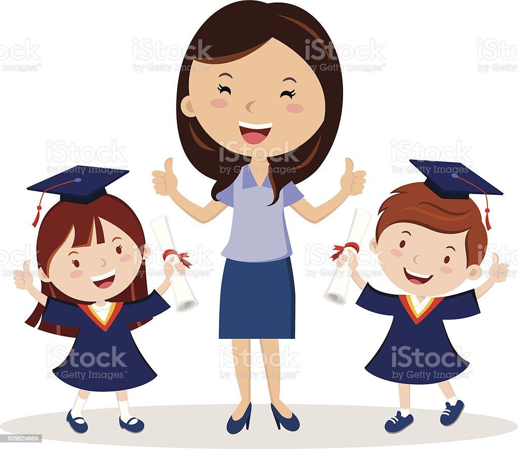 Teacher and graduation kids vector art illustration