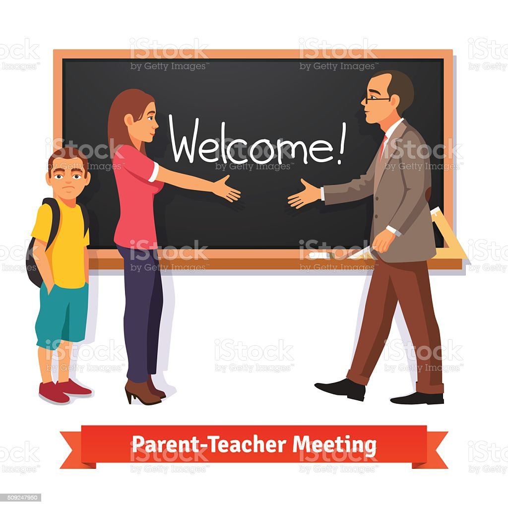 Teacher and parent meeting in classroom vector art illustration