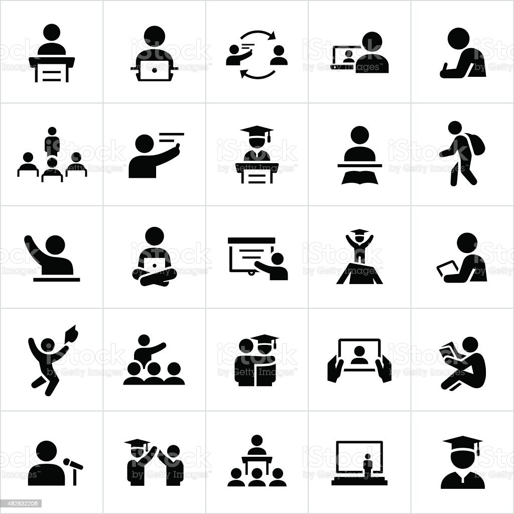 Teacher and Student Education Icons vector art illustration
