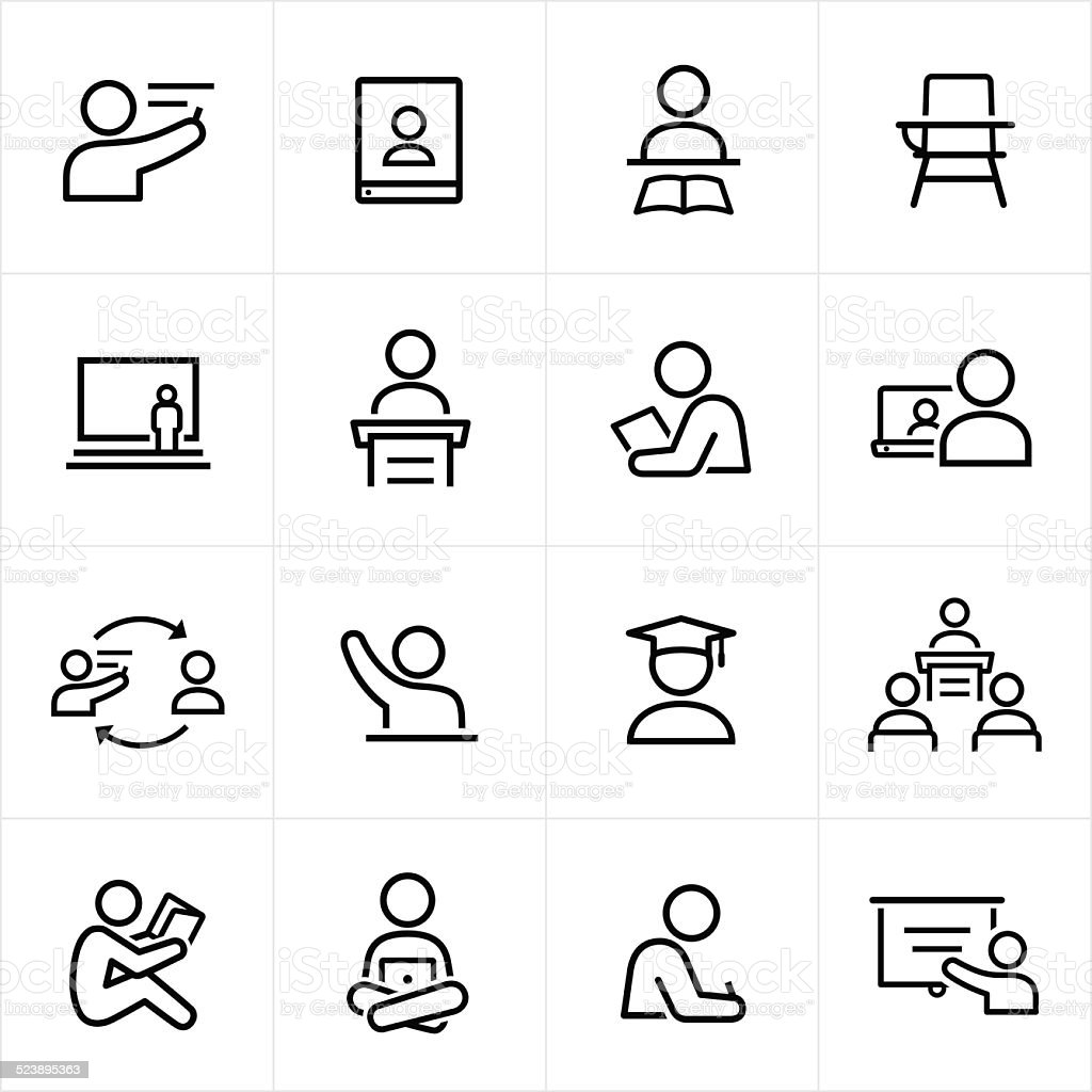 Teacher and Student Icons - Line Style vector art illustration