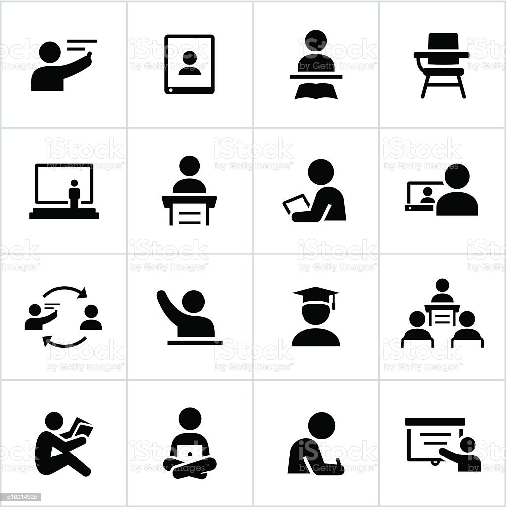 Teacher and Student Icons vector art illustration