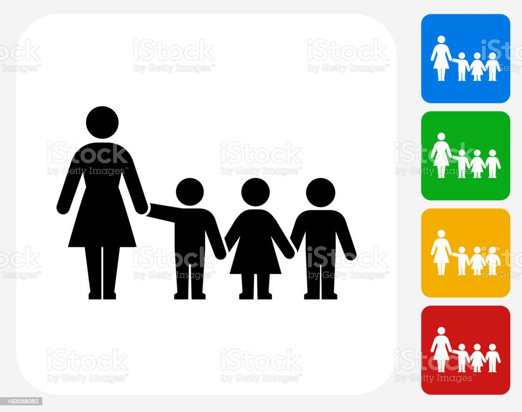 Teacher and Students Icon Flat Graphic Design vector art illustration