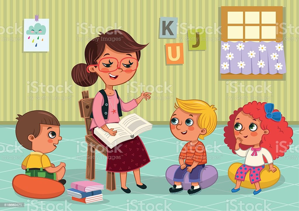 Teacher and students vector art illustration