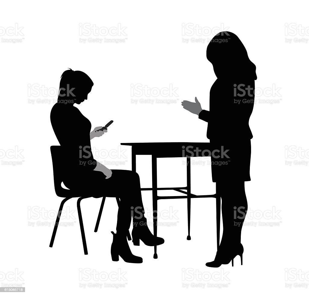 Teacher And Texting Student vector art illustration