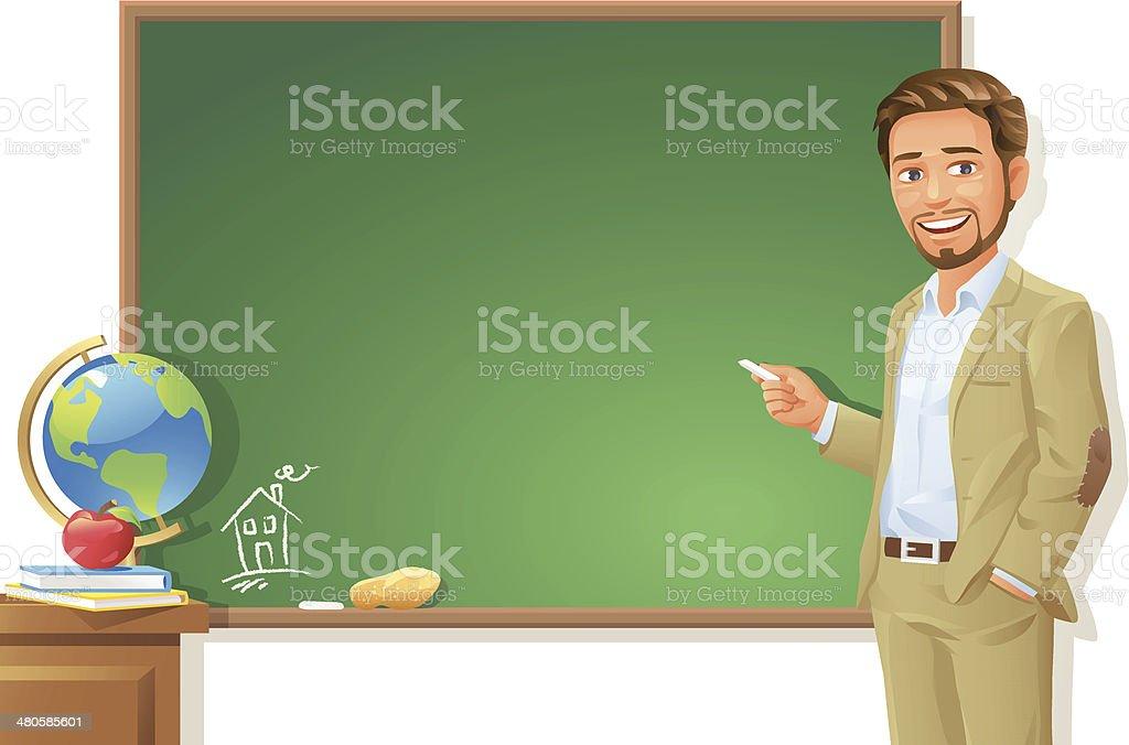 Teacher at Blackboard vector art illustration