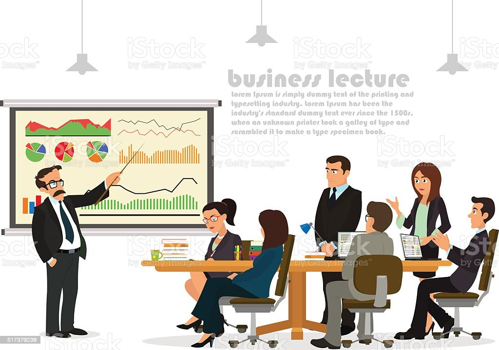teacher giving lecture or presentation to a group of employees vector art illustration