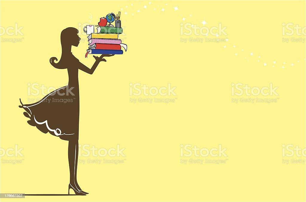 Teacher holding books royalty-free stock vector art