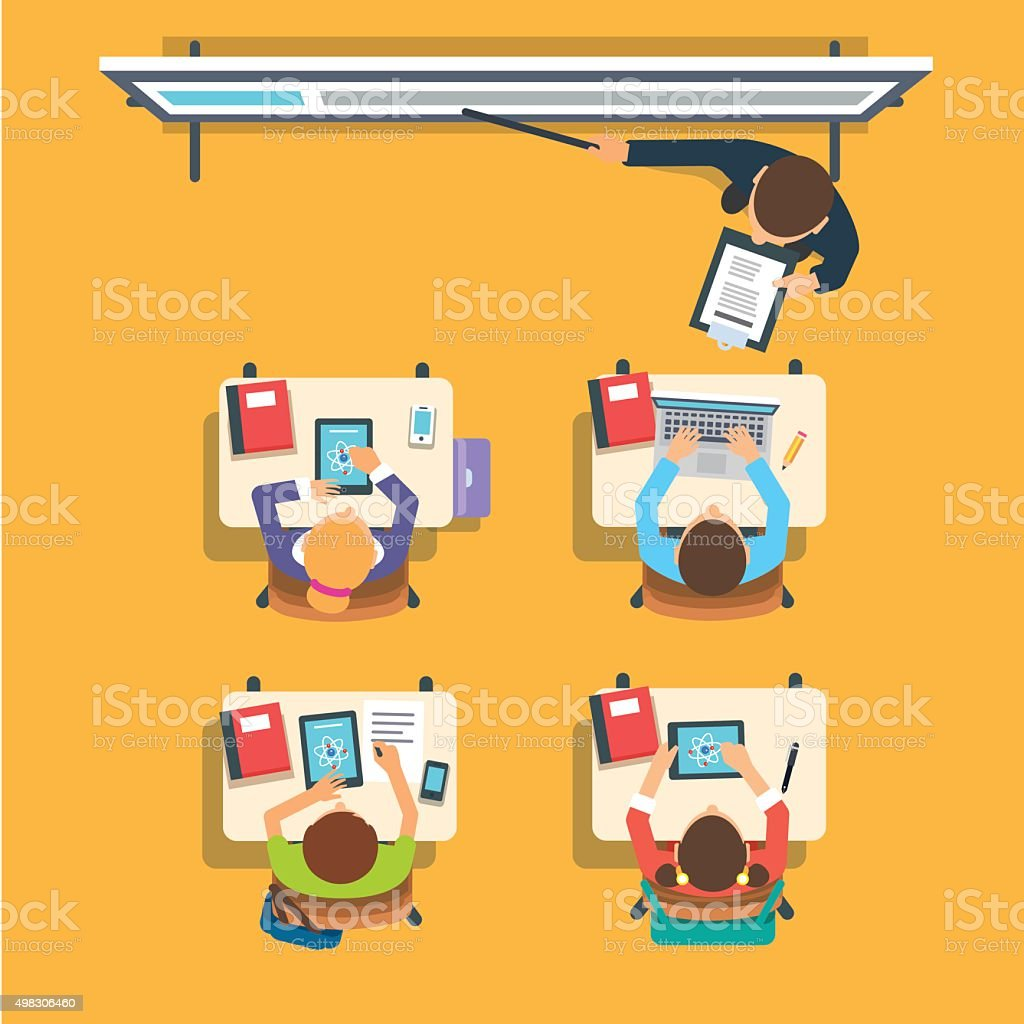 Teacher in front of the children at classroom vector art illustration