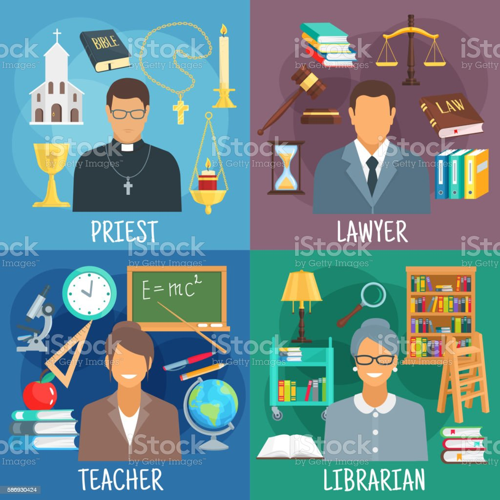 Teacher, lawyer, librarian and priest symbols vector art illustration