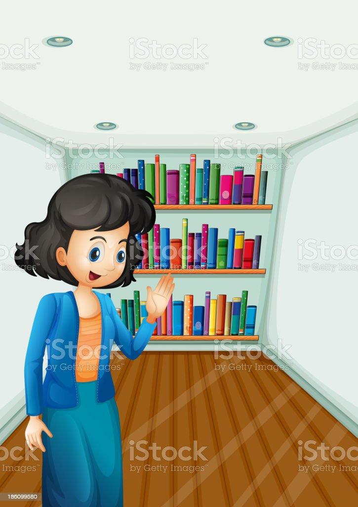 teacher presenting the books in  bookshelves royalty-free stock vector art