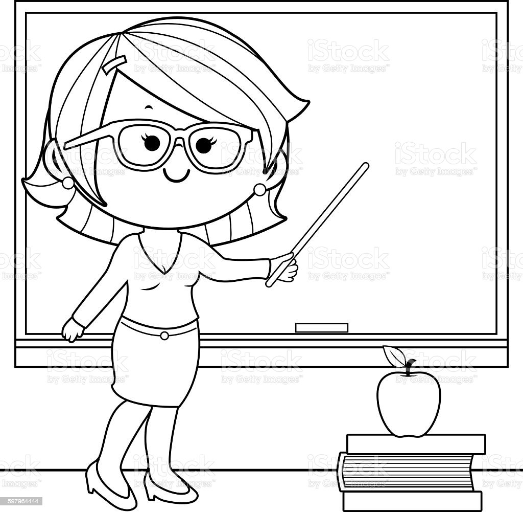 teacher teaching at class coloring book page royalty free stock vector art