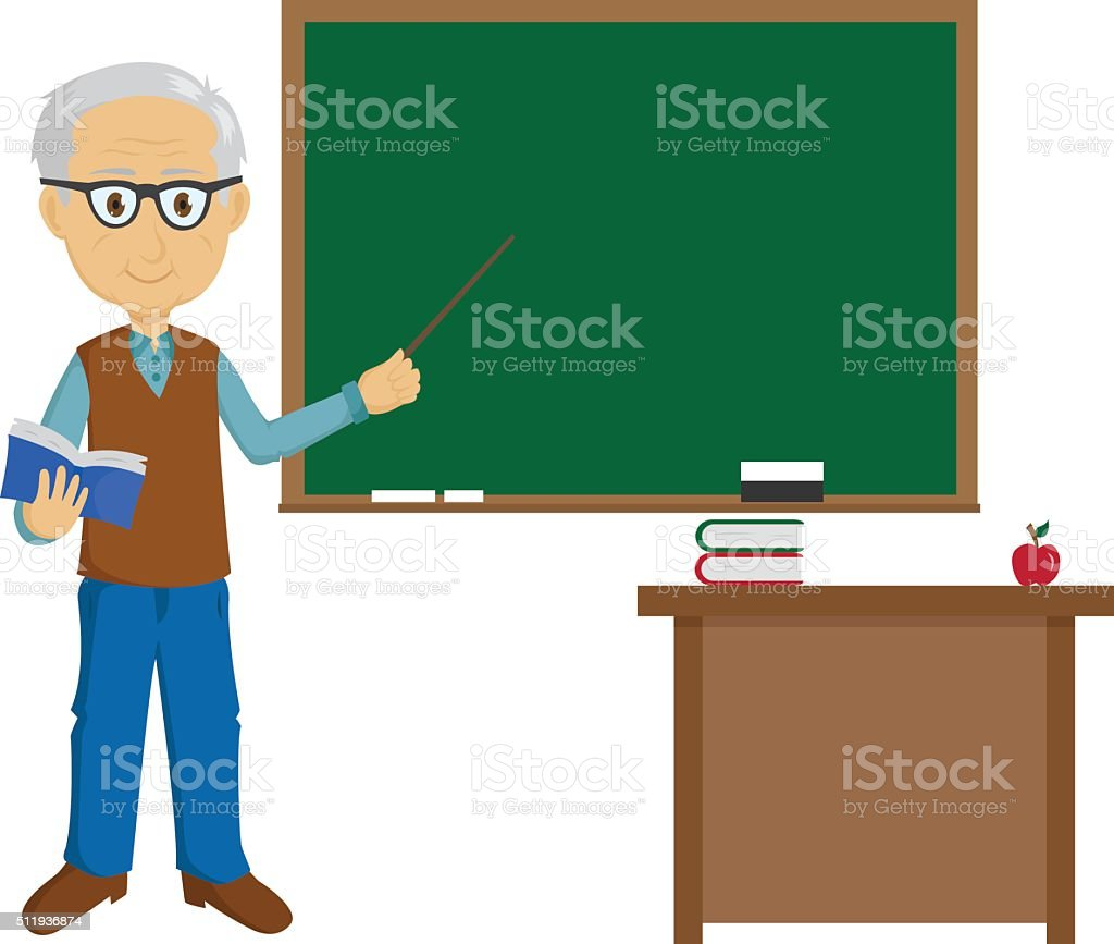 Teacher Teaching In The Classroom vector art illustration