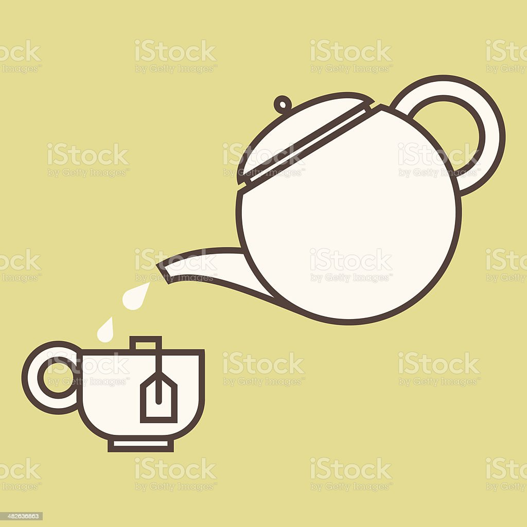 TeaCupAndPot vector art illustration