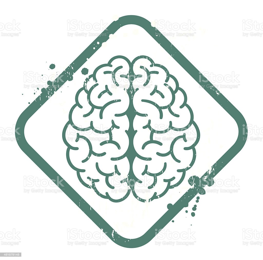 Teal and white sign of a brain with grunge frame royalty-free stock vector art