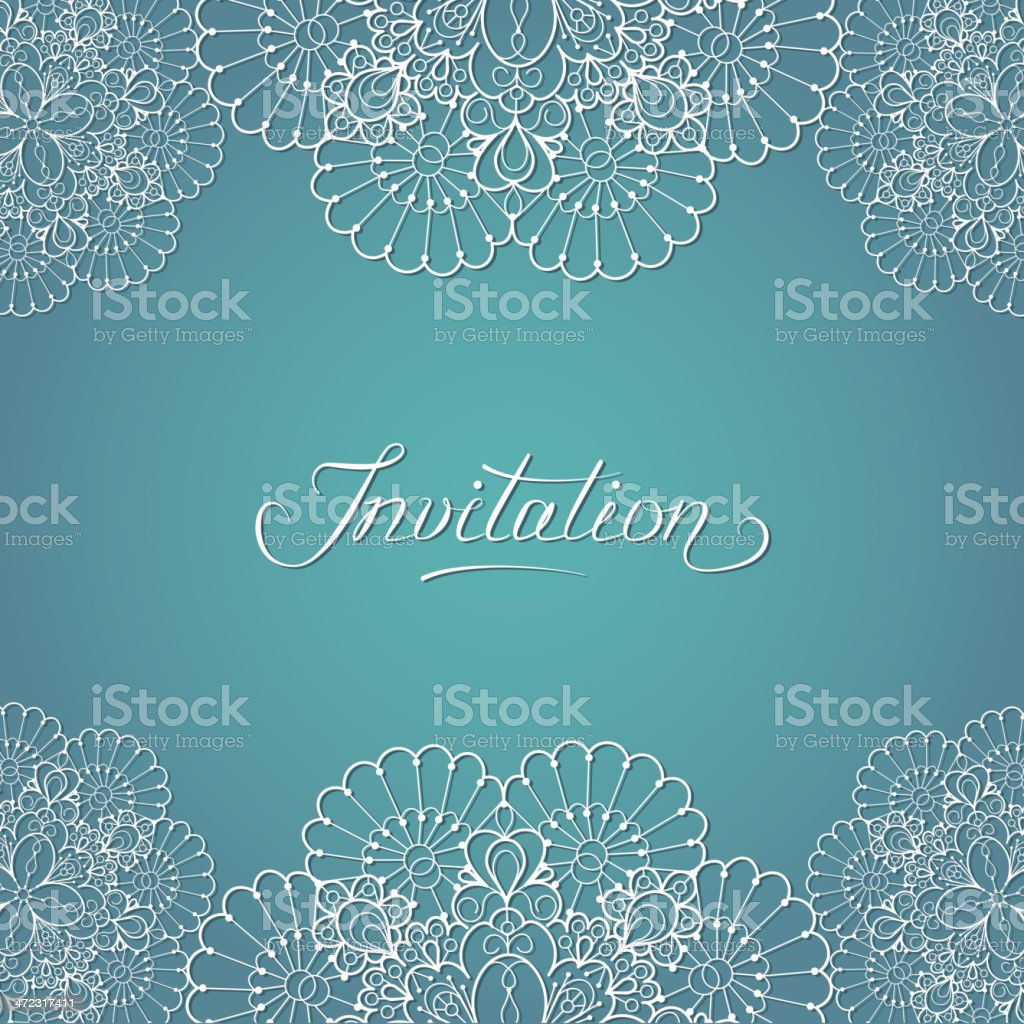 Teal formal invitation with white floral-design border royalty-free stock vector art