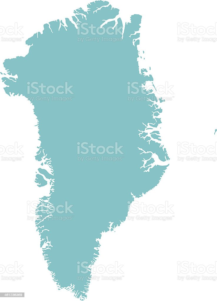 A teal graphic of Greenland, isolated on a white background vector art illustration