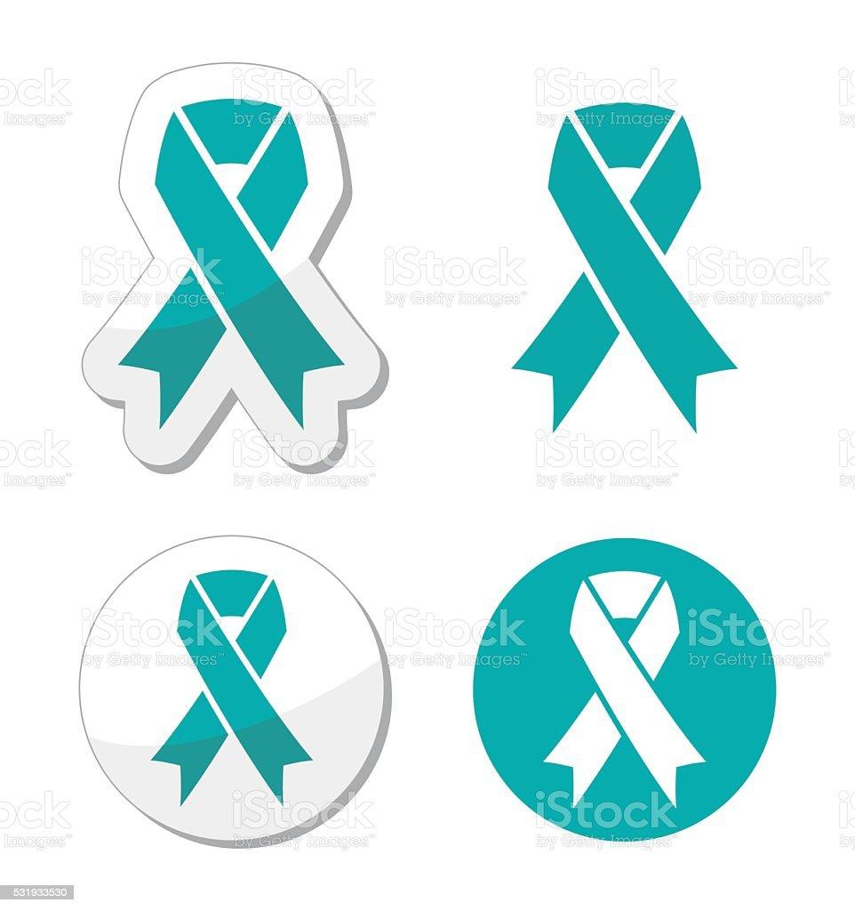 Teal ribbon - ovarian, cervical, and uterine cancers symbol vector art illustration