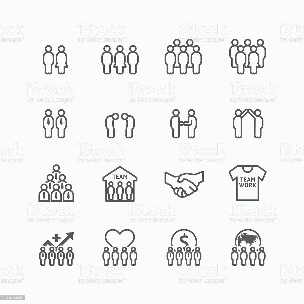 team and business silhouette icons flat line design vector set. vector art illustration