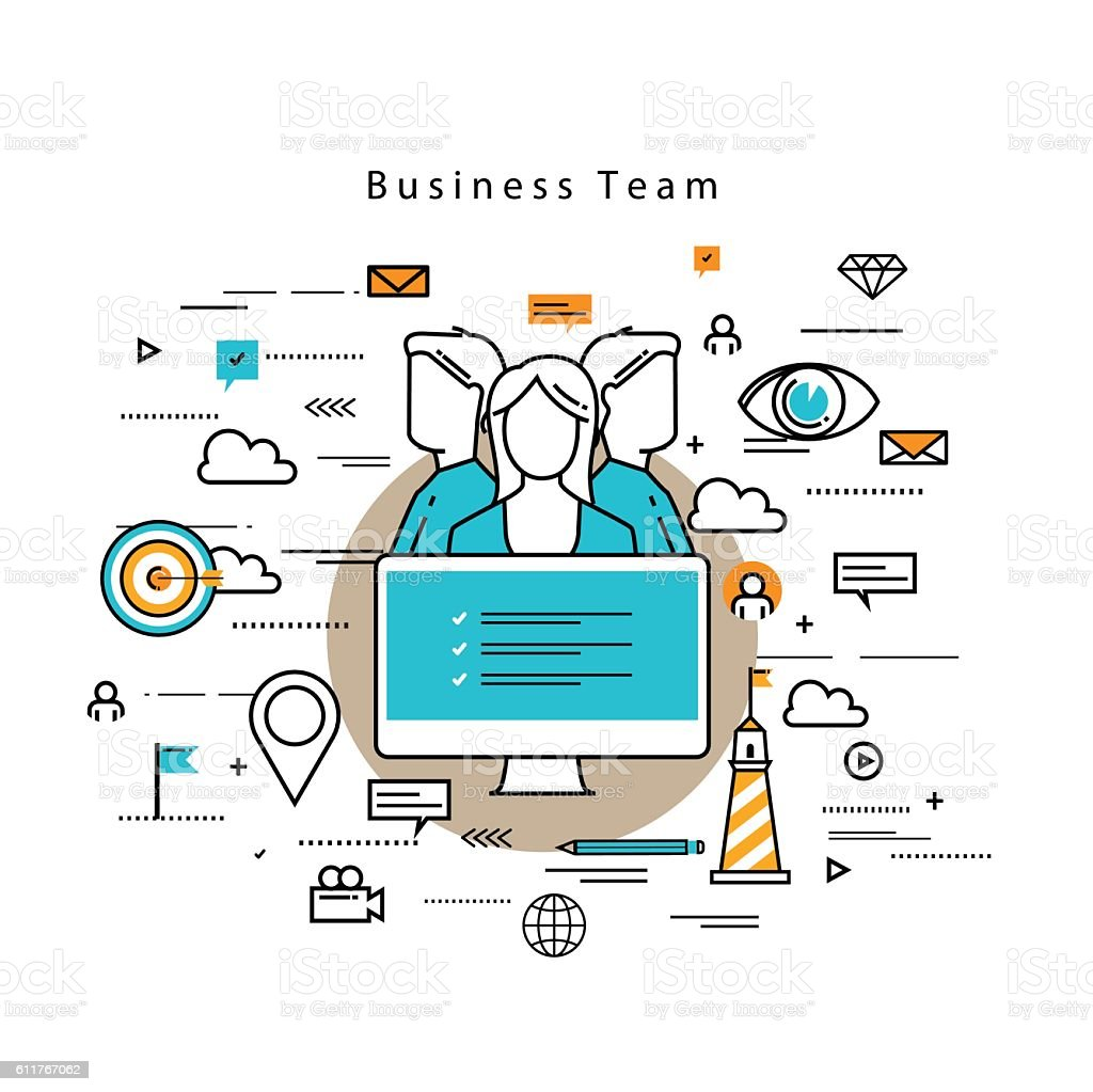 Team building and career concept vector art illustration