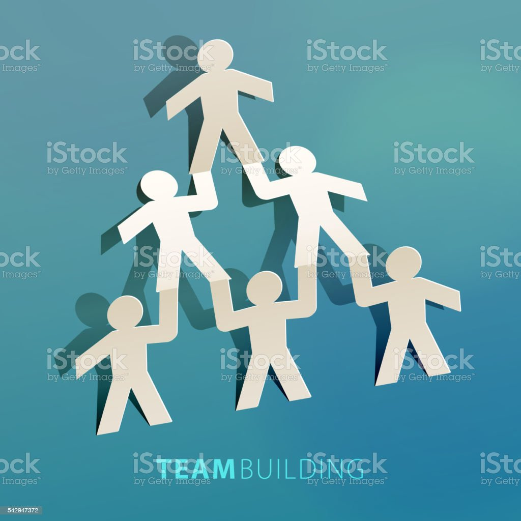 Team Building Concept Paper Cut vector art illustration